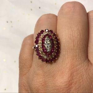 14K Estate cocktail ring with rubies & diamonds